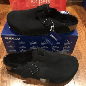 Birkenstock Boston fur black sz 10 medium men's
